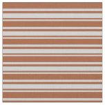 [ Thumbnail: Light Gray & Sienna Pattern of Stripes Fabric ]