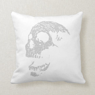 Light Gray Skull. Throw Pillow