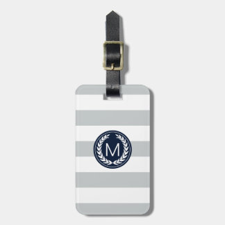 Light Gray Stripe with Navy Laurel Wreath Monogram Tags For Bags