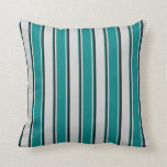 [ Thumbnail: Light Gray, Teal, and Black Colored Lines Pillow ]