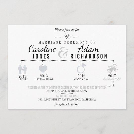 Wedding Invitation Timeline: Light Gray Timeline Wedding Invitations