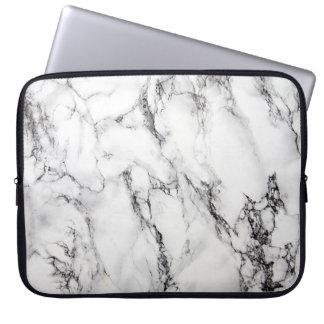Light Gray White Black Marble Stone Laptop Sleeve