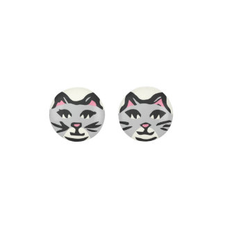 LIGHT GRAY & WHITE CAT, Pink Ears & Black Whiskers Earrings