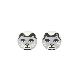 LIGHT GRAY & WHITE CAT With White Whiskers Earrings
