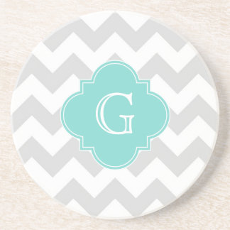 Light Gray White Chevron Aqua Quatrefoil Monogram Drink Coaster