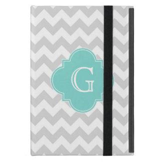 Light Gray White Chevron Aqua Quatrefoil Monogram iPad Mini Case