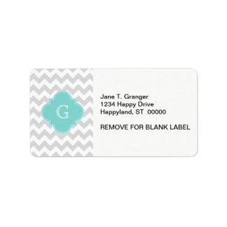 Light Gray White Chevron Aqua Quatrefoil Monogram Label