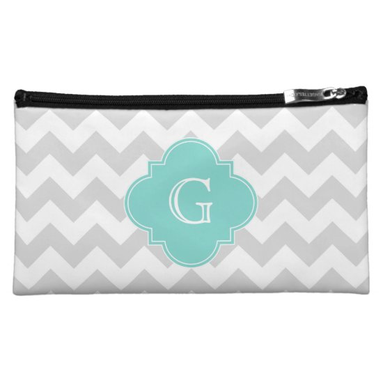 Light Gray White Chevron Aqua Quatrefoil Monogram Makeup Bag