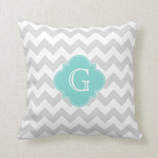 Light Gray White Chevron Aqua Quatrefoil Monogram Throw Pillows