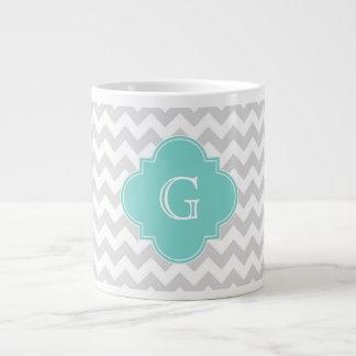 Light Gray White Chevron Aqua Quatrefoil Monogram 20 Oz Large Ceramic Coffee Mug