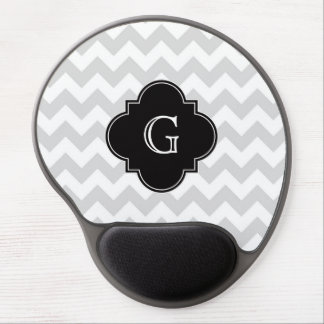 Light Gray White Chevron Black Quatrefoil Monogram Gel Mouse Pad