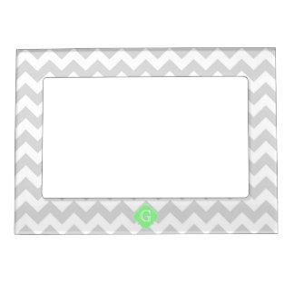 Light Gray White Chevron Mint Quatrefoil Monogram Magnetic Photo Frame