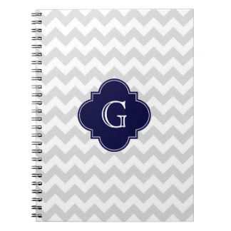 Light Gray White Chevron Navy Quatrefoil Monogram Notebook