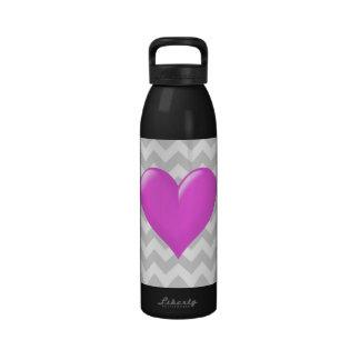 Light Gray White Chevron Pink Shaded Heart Drinking Bottle