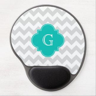 Light Gray White Chevron Teal Quatrefoil Monogram Gel Mouse Pad