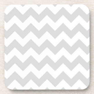Light Gray White Chevron Zig-Zag Pattern Drink Coaster