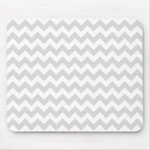 Light Gray White Chevron Zig-Zag Pattern Mouse Pad