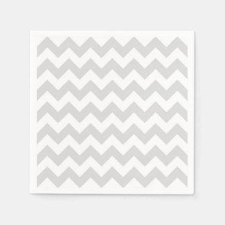 Light Gray White Chevron Zig-Zag Pattern Napkin