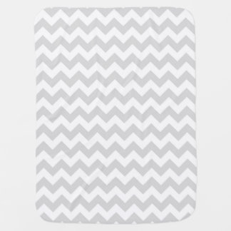 Light Gray White Chevron Zig-Zag Pattern Stroller Blankets