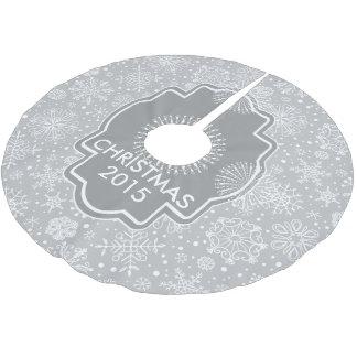 Light Gray & White Christmas Snowflakes Brushed Polyester Tree Skirt
