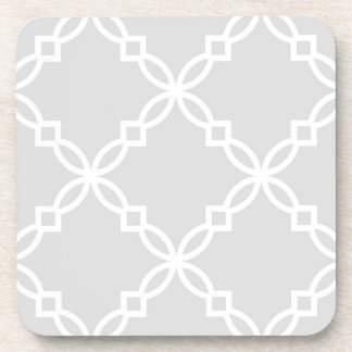 Light Gray White Large Fancy Quatrefoil Pattern Coaster