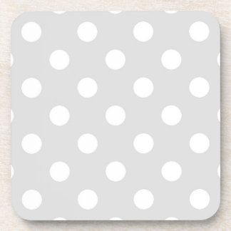 Light Gray White Large Polka Dot Pattern Coaster