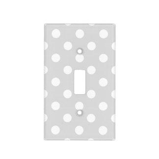 Light Gray White Large Polka Dot Pattern Light Switch Cover