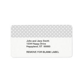 Light Gray White Polka Dot Pattern Personalized Address Labels