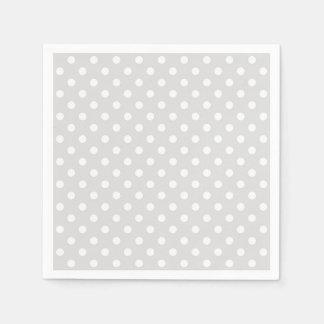 Light Gray White Polka Dots Pattern Disposable Napkins