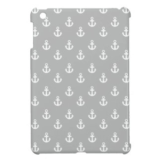 Light Gray White Ships Anchors Pattern Case For The iPad Mini