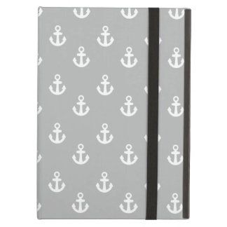 Light Gray White Ships Anchors Pattern iPad Covers