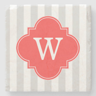 Light Gray White Stripes Coral Red Monogram Label Stone Coaster