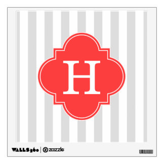Light Gray White Stripes Coral Red Monogram Label Wall Graphic
