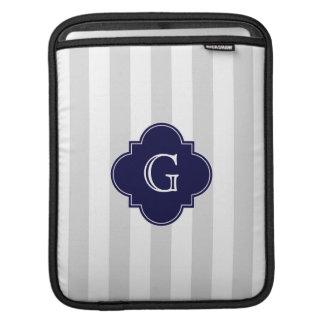Light Gray White Stripes, Navy Blue Label Monogram Sleeve For iPads