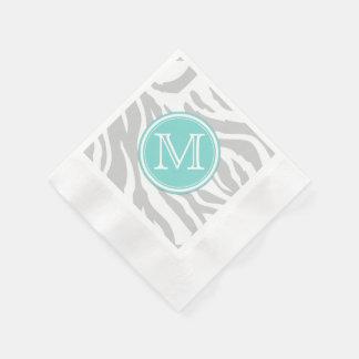 Light Gray & White Zebra Stripes with Monogram Coined Cocktail Napkin