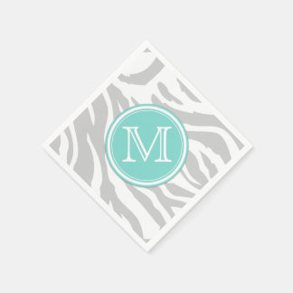 Light Gray & White Zebra Stripes with Monogram Paper Napkin