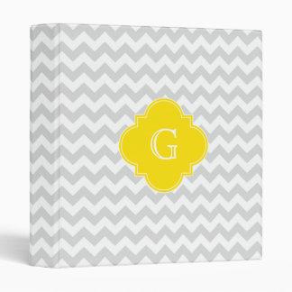 Light Gray Wht Chevron Yellow Quatrefoil Monogram Binder