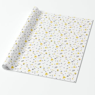 Light gray & yellow triangles geometric pattern wrapping paper