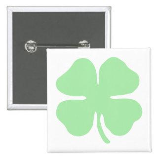 light green 4 leaf clover shamrock.png pinback button
