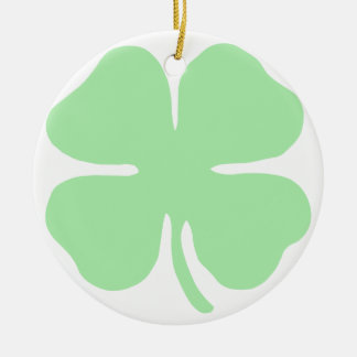 light green 4 leaf clover shamrock.png ceramic ornament