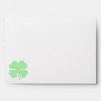 light green 4 leaf clover shamrock.png envelope