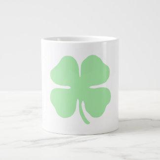 light green 4 leaf clover shamrock.png giant coffee mug
