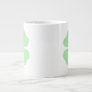 light green 4 leaf clover shamrock.png large coffee mug