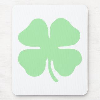 light green 4 leaf clover shamrock.png mouse pad