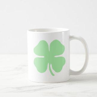 light green 4 leaf clover shamrock.png mug