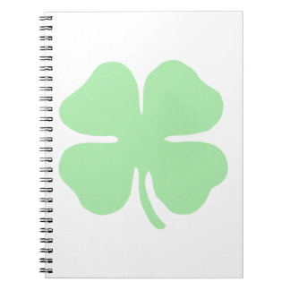 light green 4 leaf clover shamrock.png note books