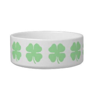 light green 4 leaf clover shamrock.png cat water bowl