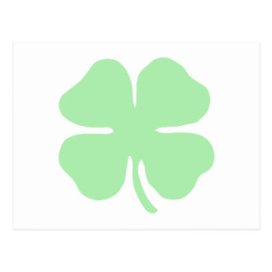 Light Green 4 Leaf Clover Shamrock Postcard