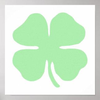 light green 4 leaf clover shamrock.png poster
