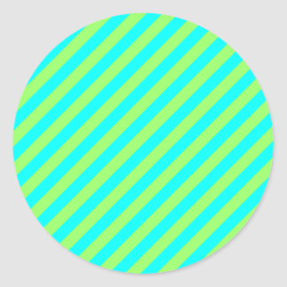 Light Green and Aqua Diagonal Stripes Classic Round Sticker